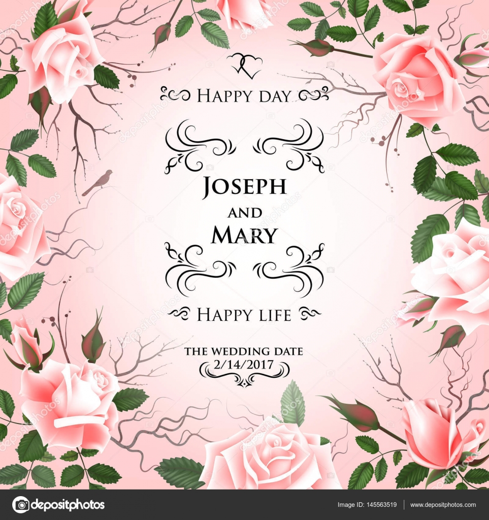 Postcard with delicate flowers roses wedding invitation thank you wedding invitation thank you save the date cards flyer banner template spring and summer background happy birthday greeting card izmirmasajfo