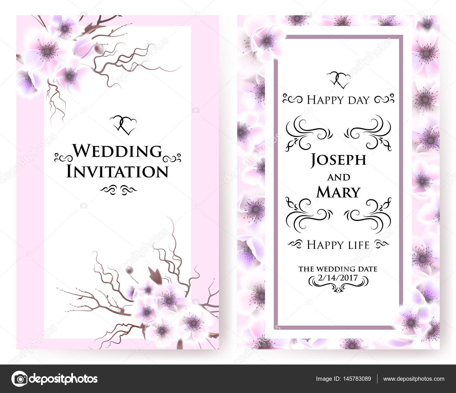 Postcard with delicate flowers anemones wedding invitation thank wedding invitation thank you save the date cards menu flyer banner template happy birthday greeting card vector by artabramoa maxwellsz