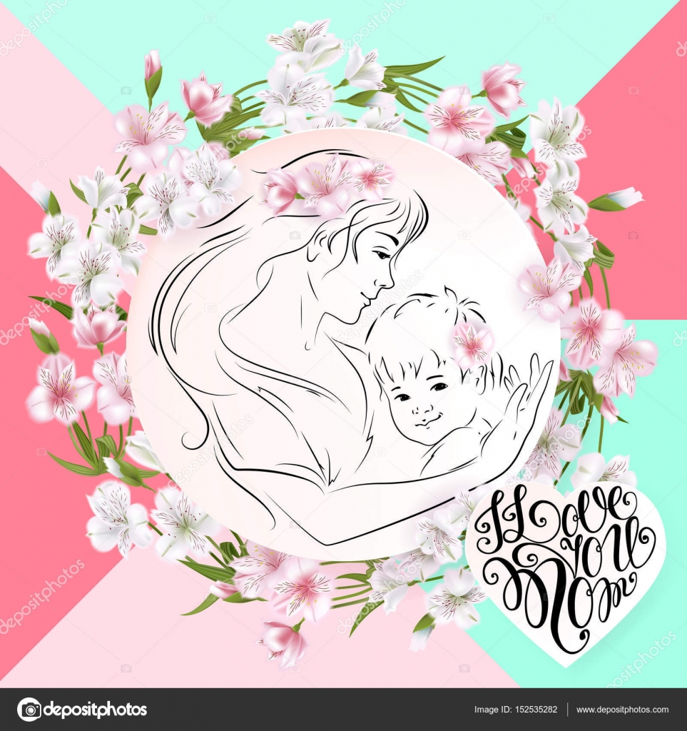 Mothers day greeting card flowers and mother with a baby in her mothers day greeting card flowers and mother with a baby in her arms vector m4hsunfo