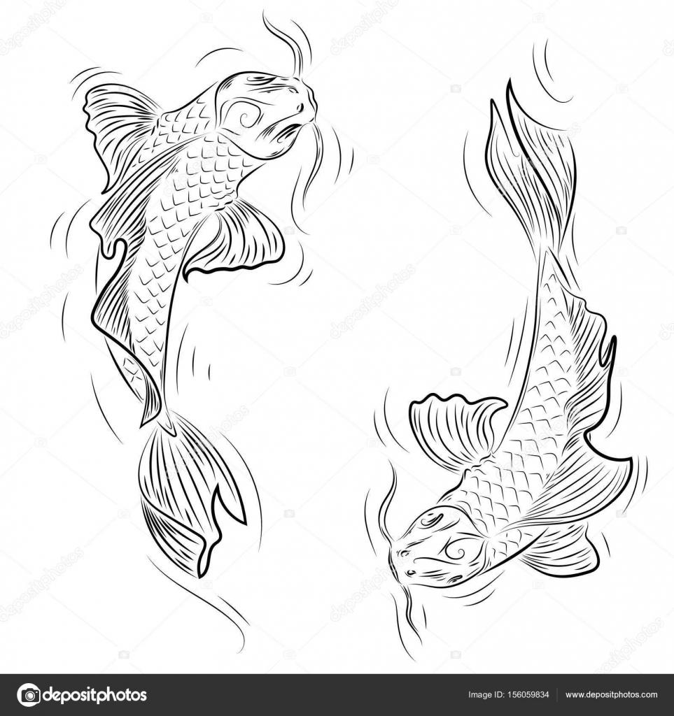 Hand Drawn Line Art Of Koi Carp Coloring Page Yin Yang Stock Vector