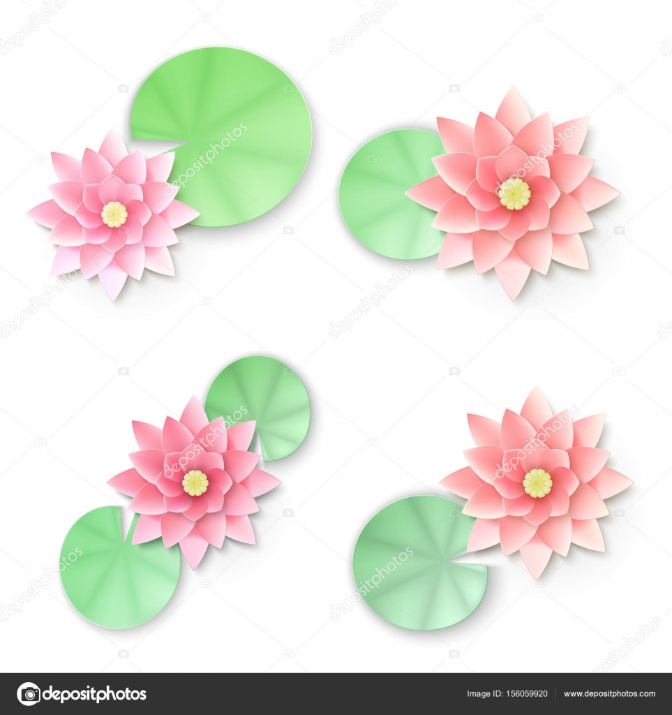 Paper Flower Pink Lotus Background Vector Illustration Stock