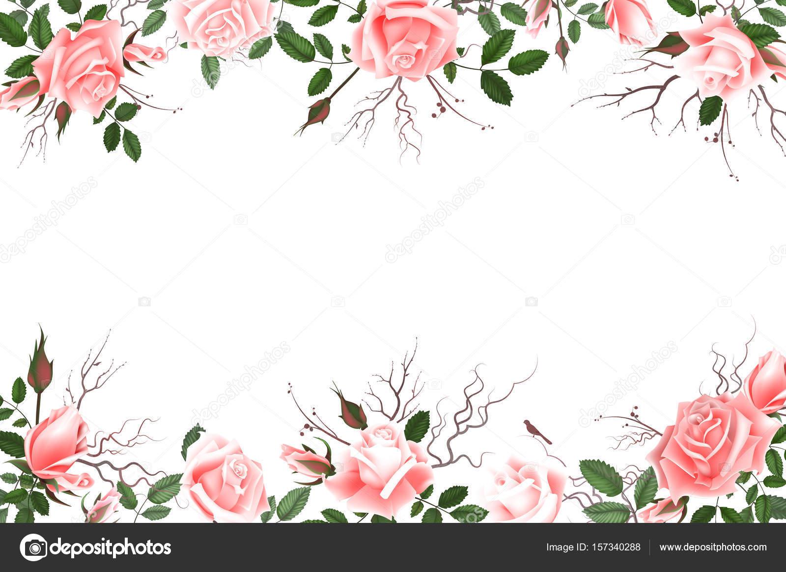Flores De Aniversario: Cartão Com Rosas, Aquarela, Pode Ser Usado Como Cartão De