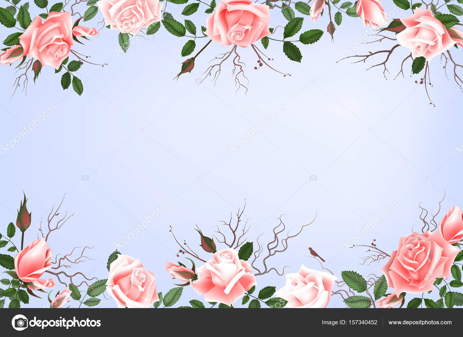 Flores De Aniversario: Cartão Postal Com Delicadas Flores Rosas. Convite De