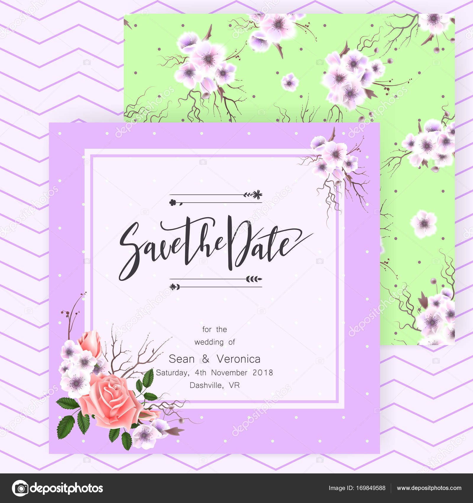 Save the date card, wedding invitation, greeting card with ...