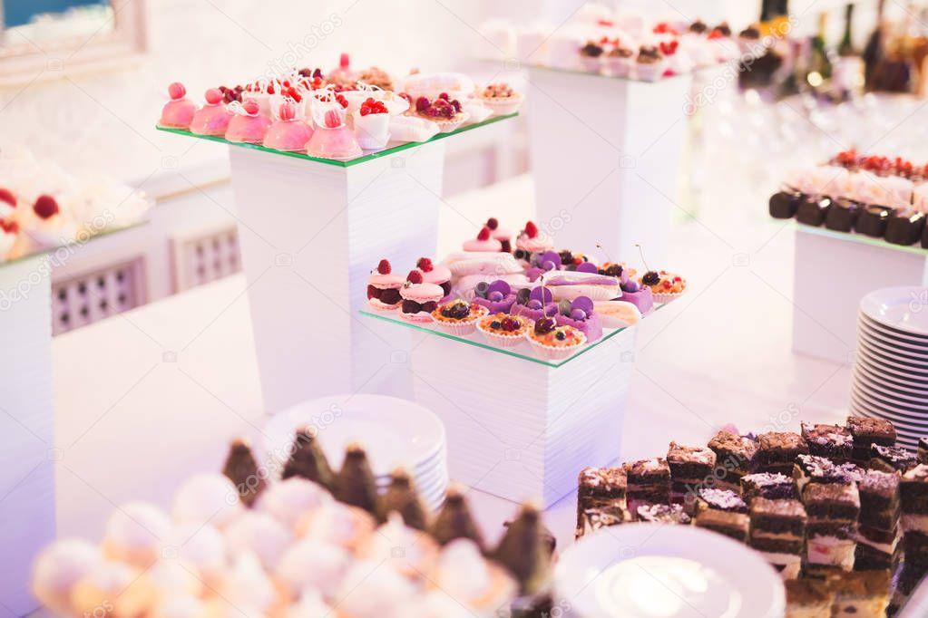 Delicious Wedding Reception Candy Bar Dessert Table Stock Photo 130169748