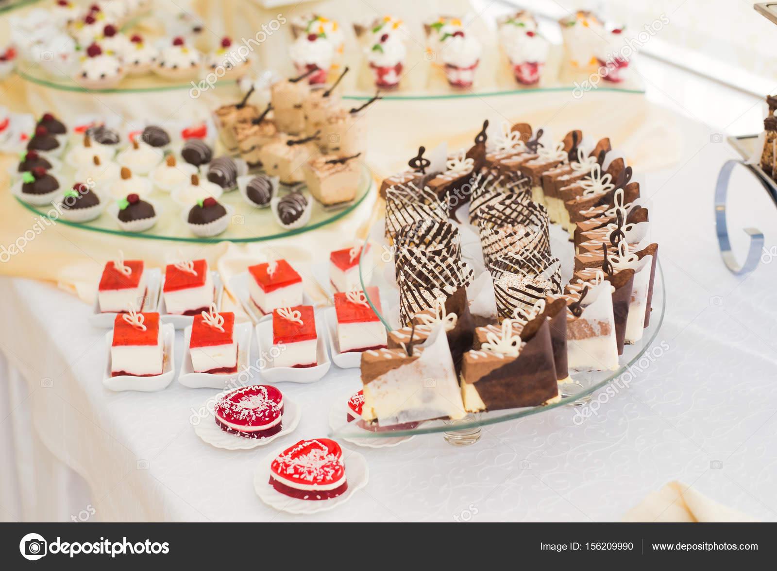 Delicious wedding reception candy bar dessert table — Stock Photo ...