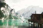 Braies Lake in Dolomites mountains, Sudtirol, Italy. Lago di Braies