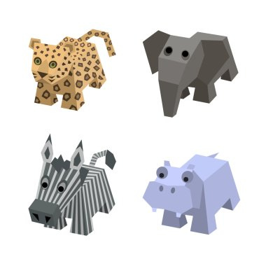 Vector set of african isometric animals
