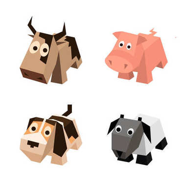 Vector set of different isometric 3d animals
