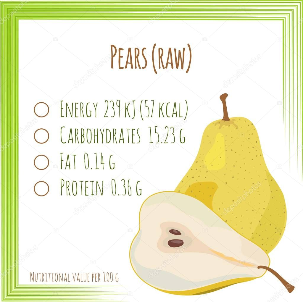 Pears. Nutrition facts. Flat design, no gradient. Vector illustr