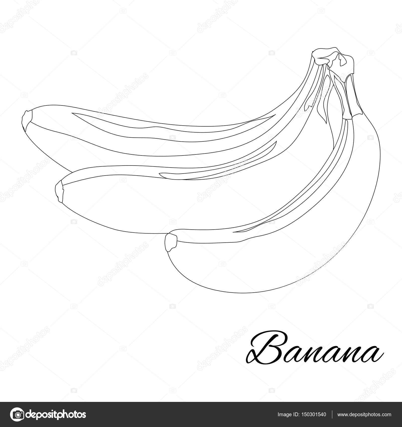 Muz Sayfa Boyama Kitabı Için Doodle Tasarım Meyve Vektör Hastası