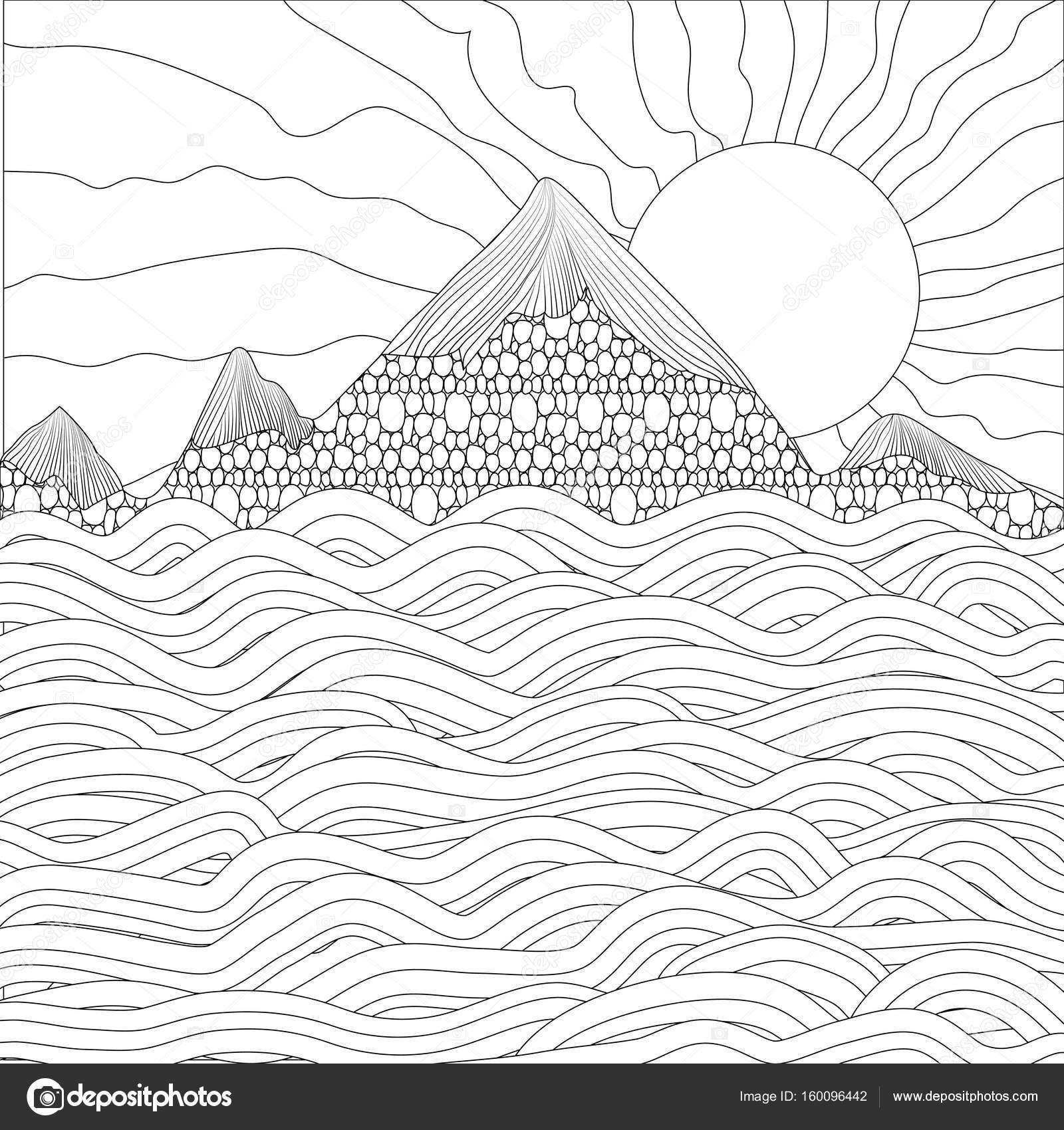 Paesaggio Con Mare Montagne E Sole Su Sfondo Bianco Ve