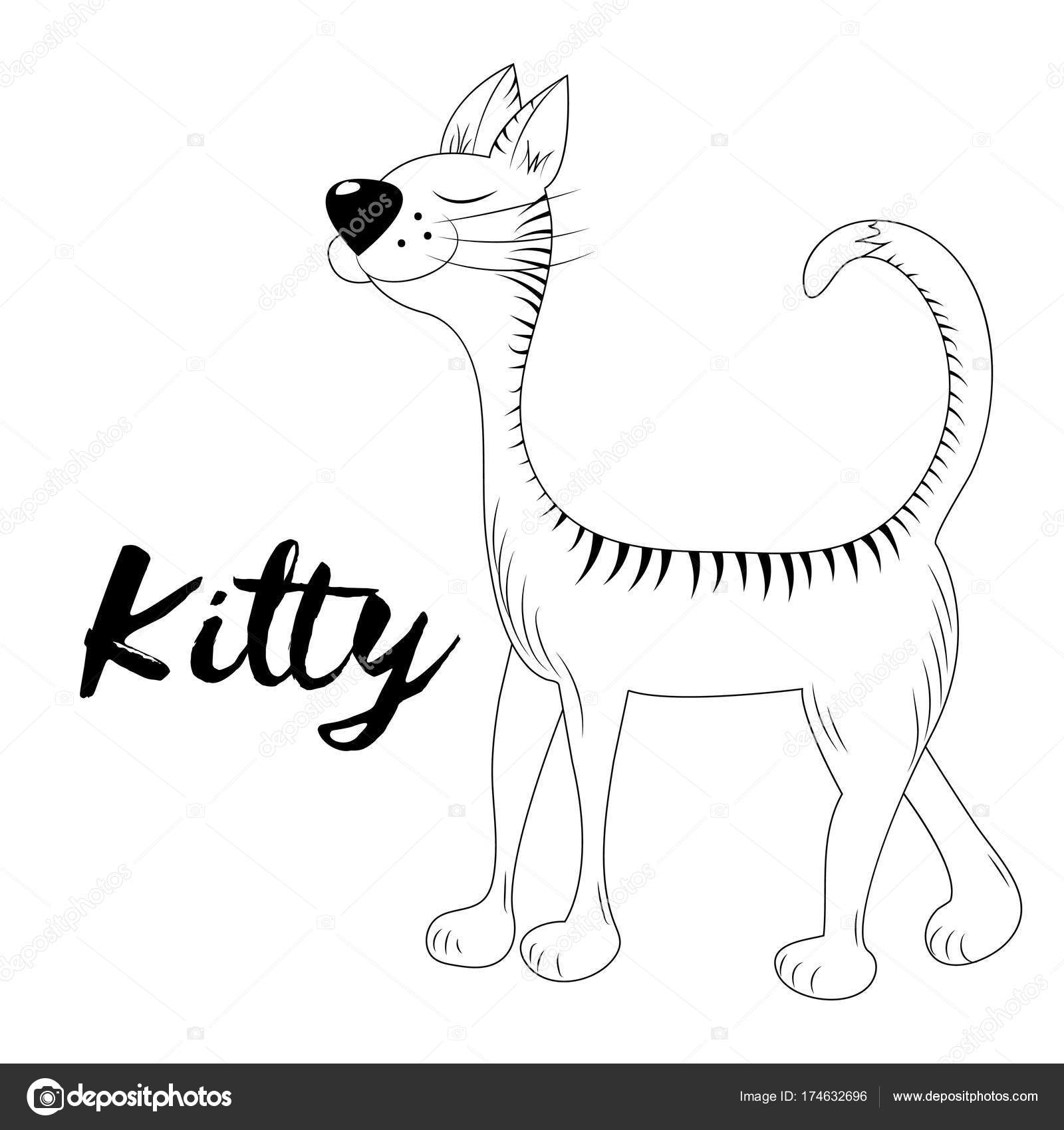 Vector Kitty Hand Drawn Sketch Page For Coloring Book Doodle