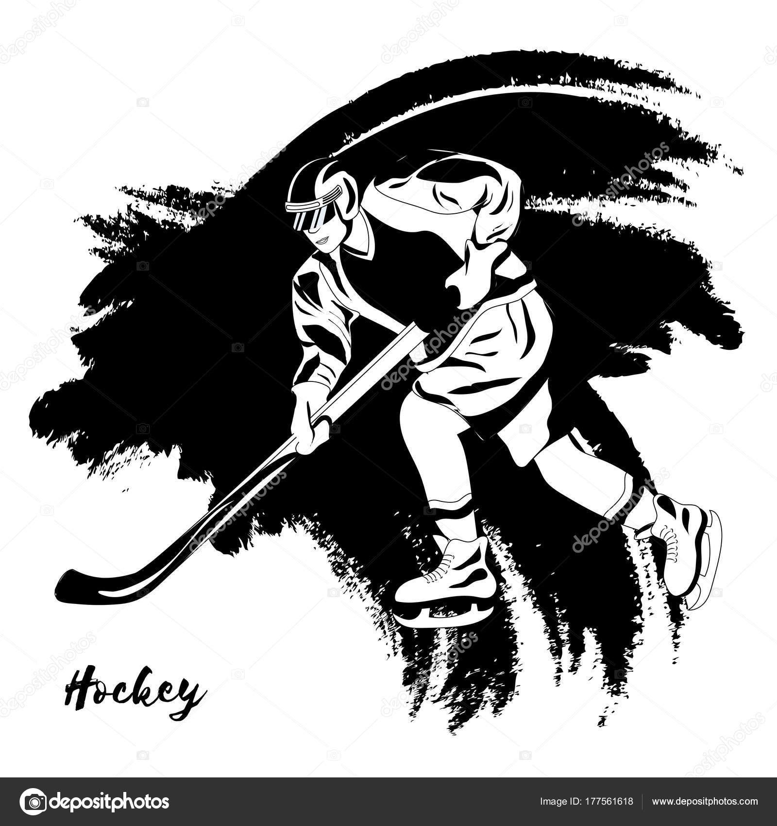 Deporte de invierno. Jugador de hockey. Ilustración de vector. Negro ...