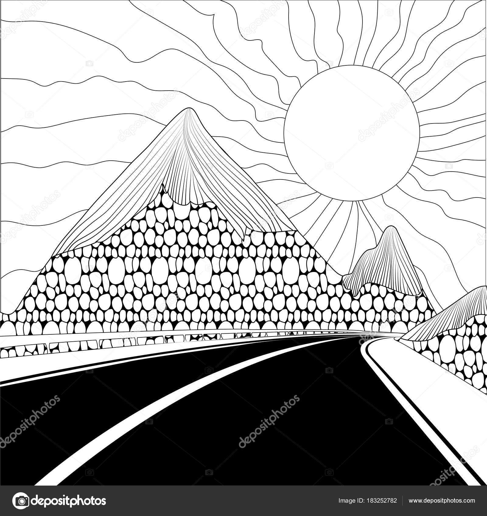 Paisaje con carretera, montañas y el sol sobre un fondo blanco ...