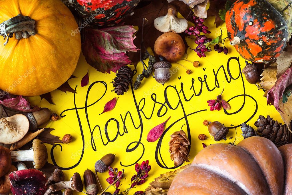 Happy Thanksgiving Day Holiday Background Postcard Concept Cornucopia Full Harvest Fruit Vegetable Hand Drawn Greeting Card