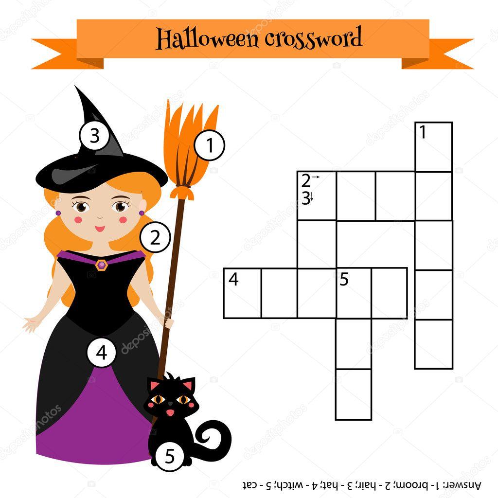 Kreuzworträtsel-pädagogische Kinder-Spiel mit Antwort. Halloween ...
