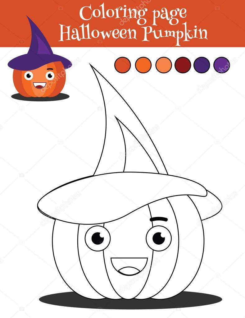 Página para colorear con calabaza de halloween. Juego educativo, los ...