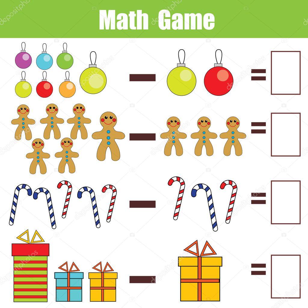 Juego educativo de matemáticas para niños, hoja de cálculo de resta ...