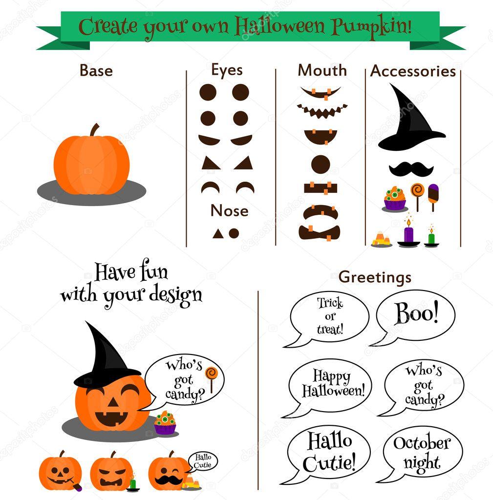 Halloween Spelletjes Volwassenen.Maak Je Eigen Halloween Pompoen Karakter Constructor Kit