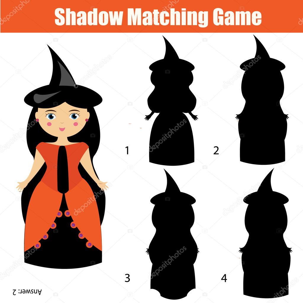 Gmail themes halloween - Find The Right Correct Shadow Task For Kids Preschool And School Age Halloween Theme With Witch Character Vector By Bonnyheize Gmail Com