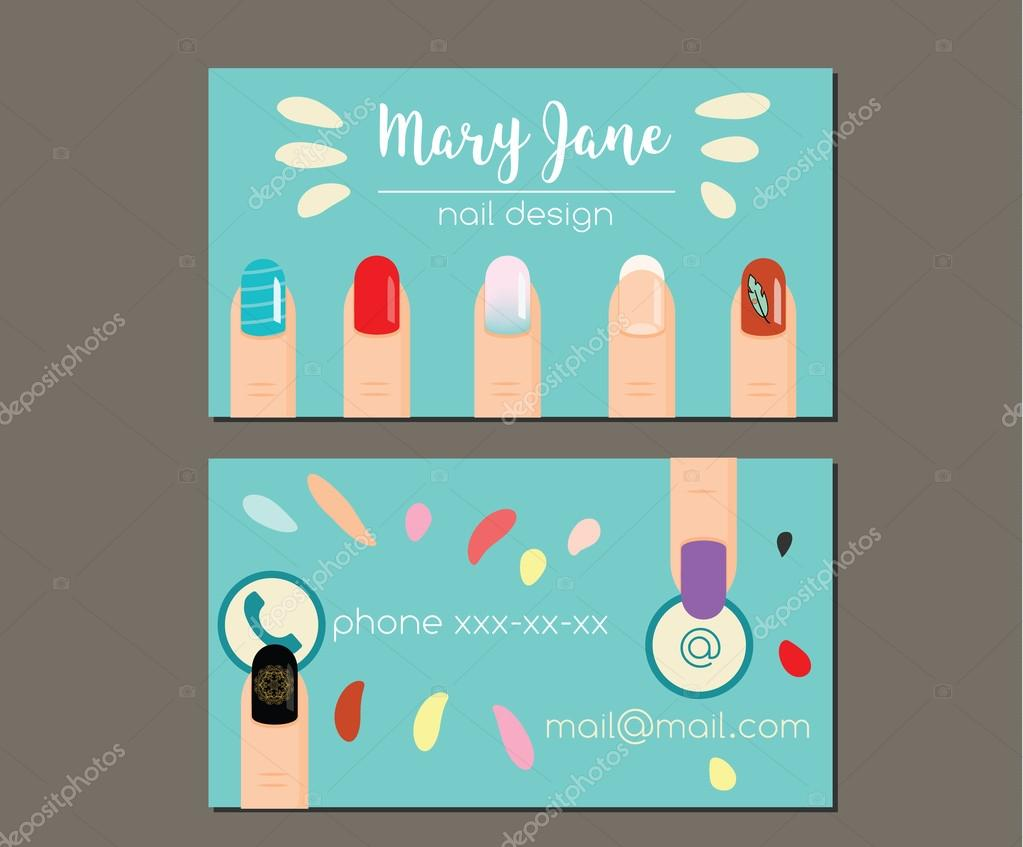 Business card design template. Business card, flyer for manicure ...