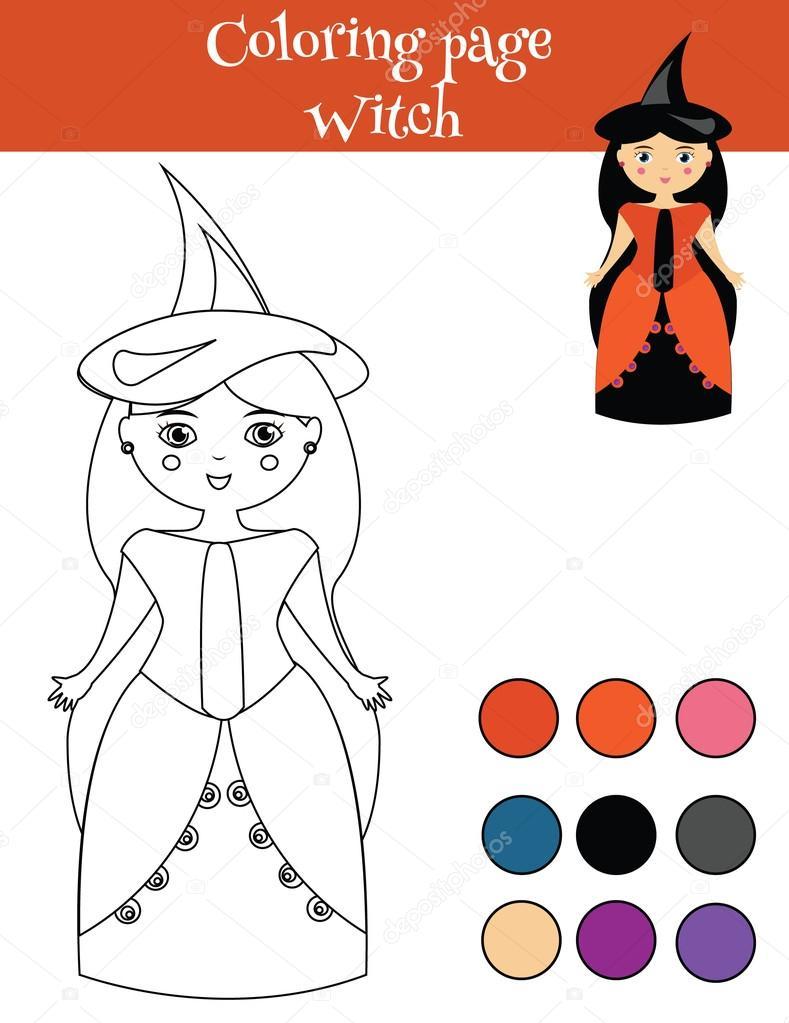 Kız Halloween Cadı Kostüm Ile Sayfa Boyama Kids Hareket çizim