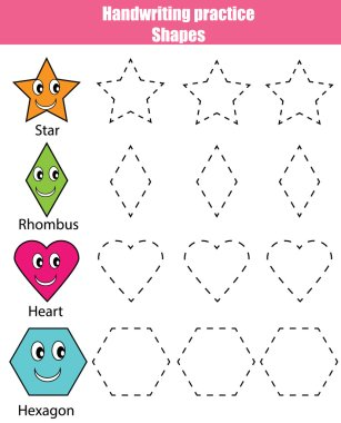 Handwriting practice sheet. Educational children game, kids activity. Learning shapes, printable worksheet