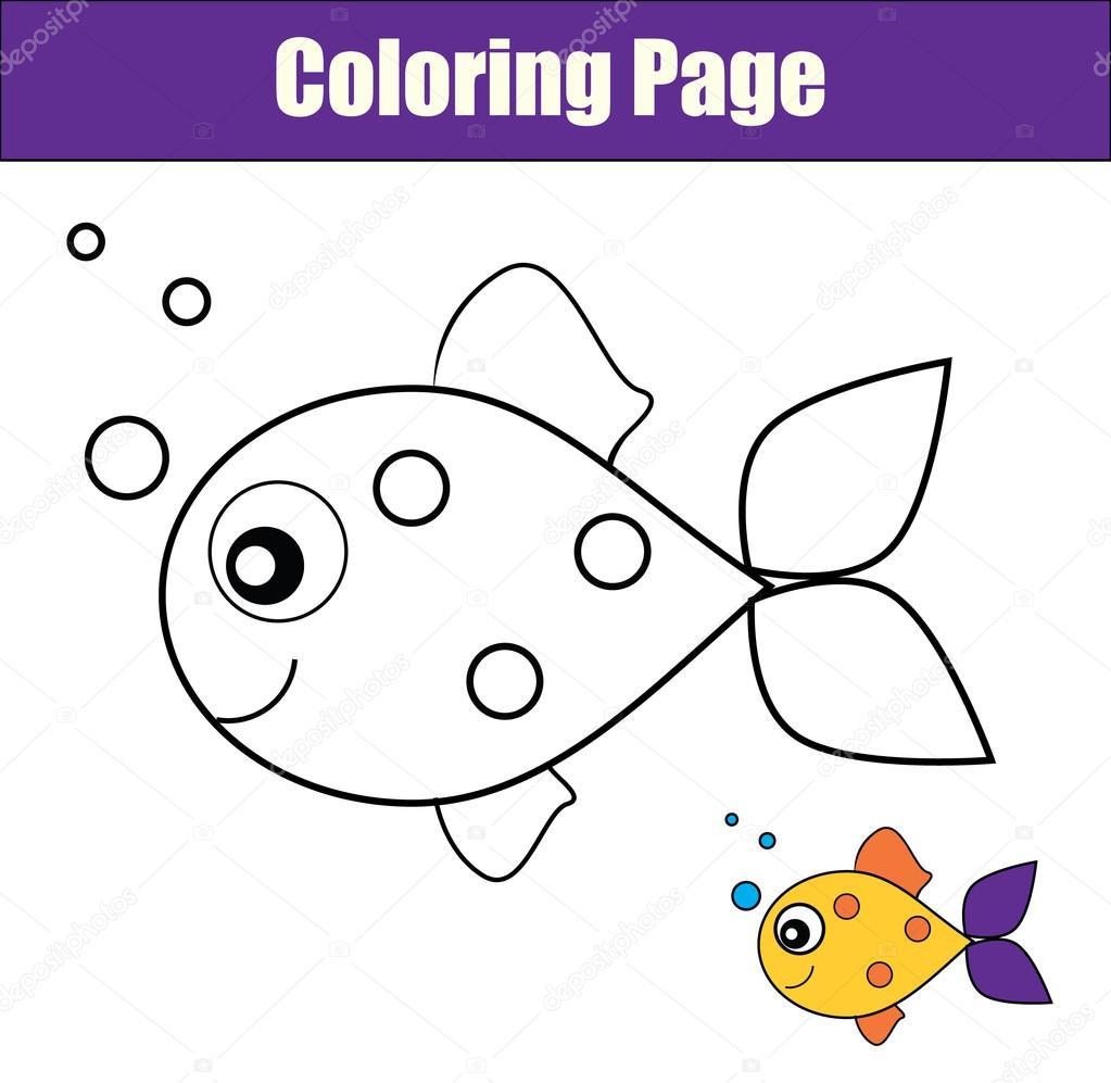 Página para colorear con peces. Juego didáctico, para imprimir ...