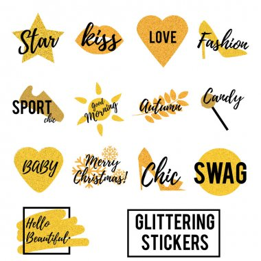 Trendy fashionable gold glittering pins. Cool patches, badges, stickers with text, sms messages isolated on white. Vector illustrarion