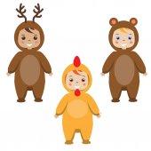 Dětská párty oblečení. Děti ve zvířecích karnevalové kostýmy