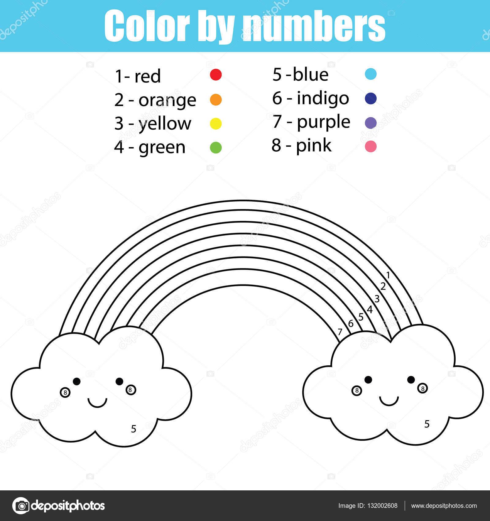 Kleurplaat Met Schattige Kawaii Regenboog Kleur Door Nummers