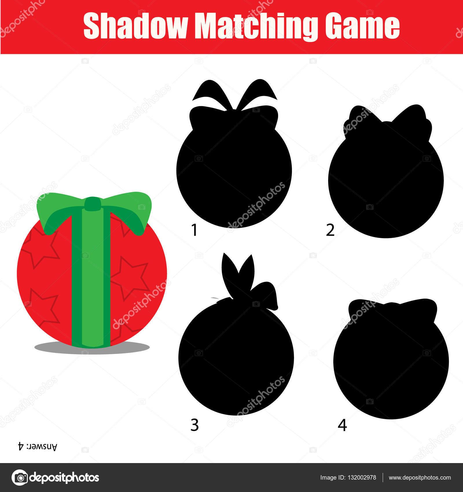 Schatten-matching-Spiel. Weihnachten, Winter Urlaub Thema ...