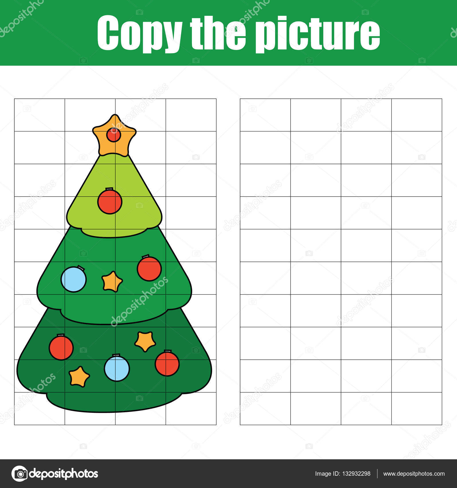 copy the picture using a grid children educational drawing game printable drawing kids activity worksheet copy the christmas tree - Christmas Tree Game