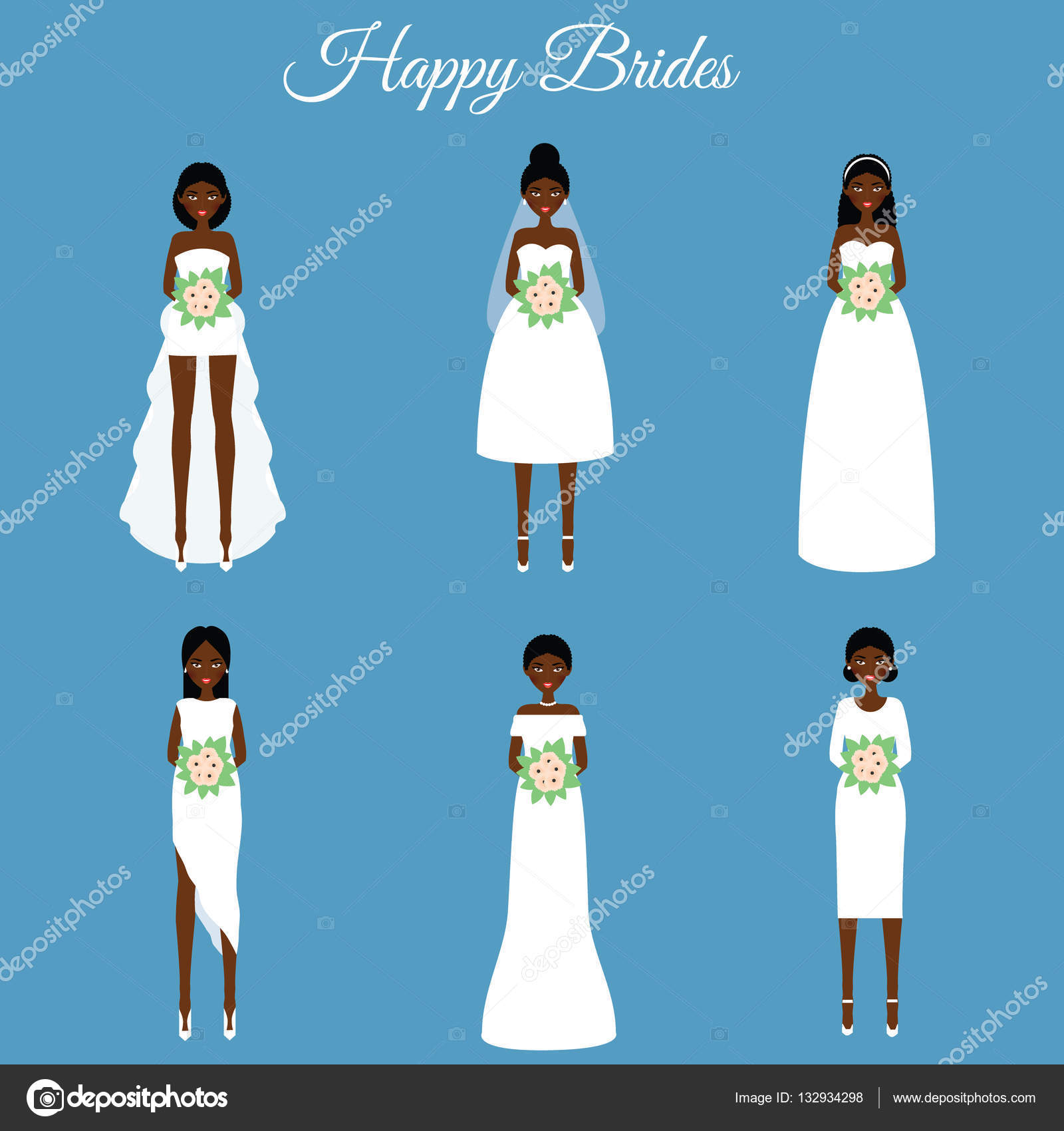 African american smiling happy brides. Women in fashion wedding ...