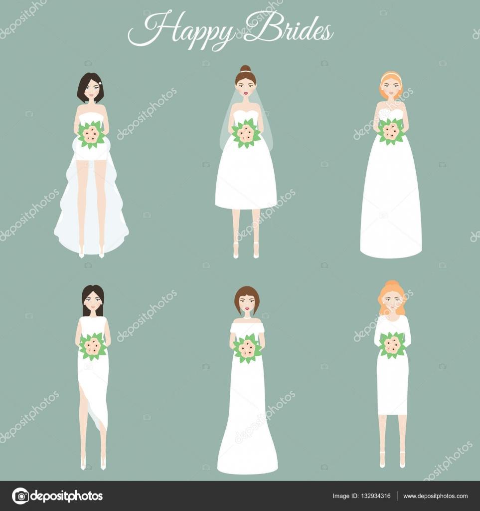 Novias felices sonriendo. Mujeres en vestidos de Novia de moda ...