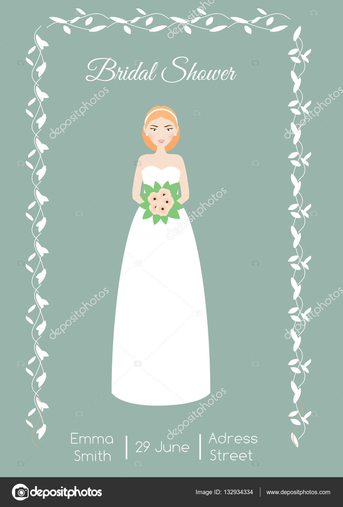 Bridal shower card with smiling happy bride Woman in fashion