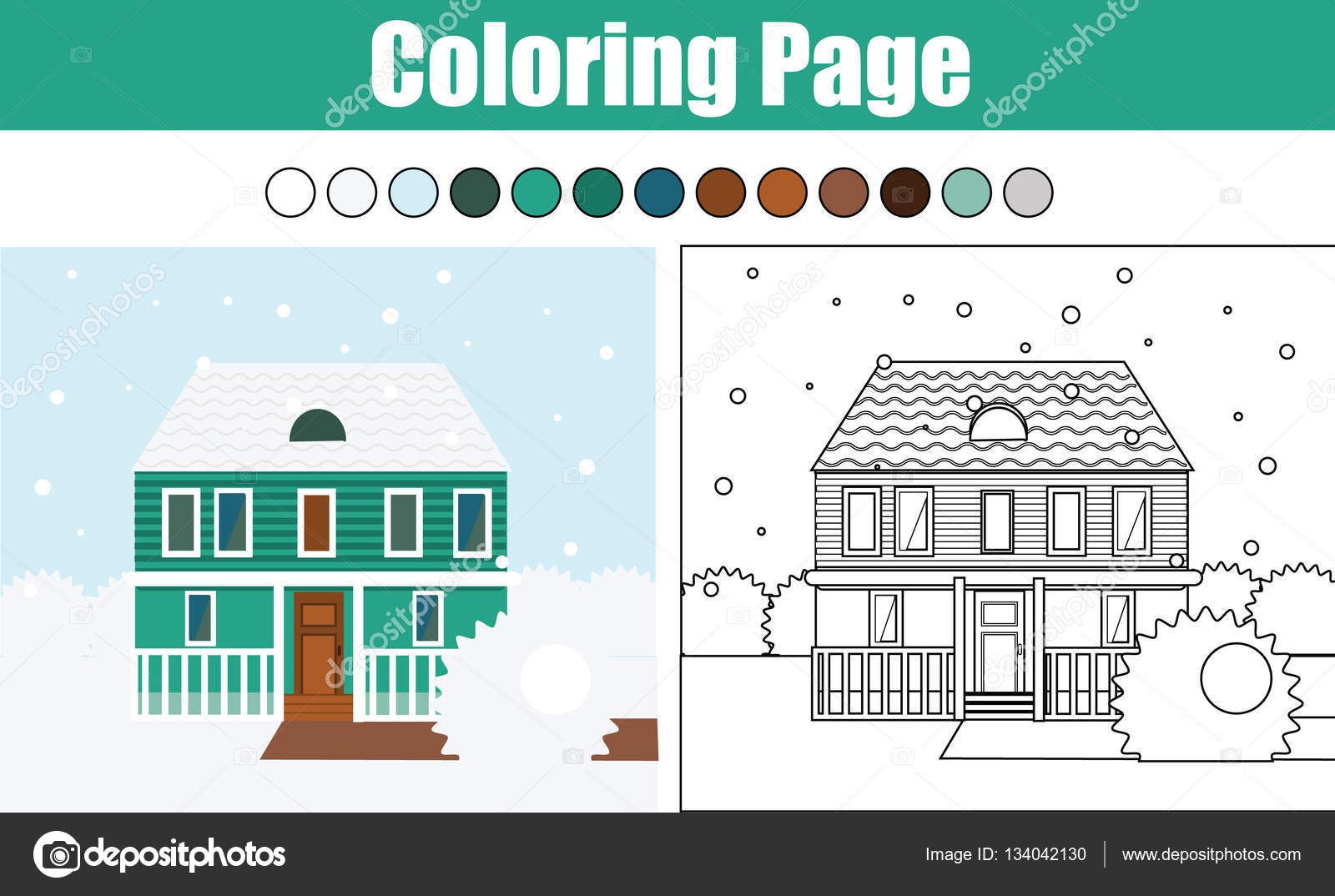 coloring page with cottage house winter scene children