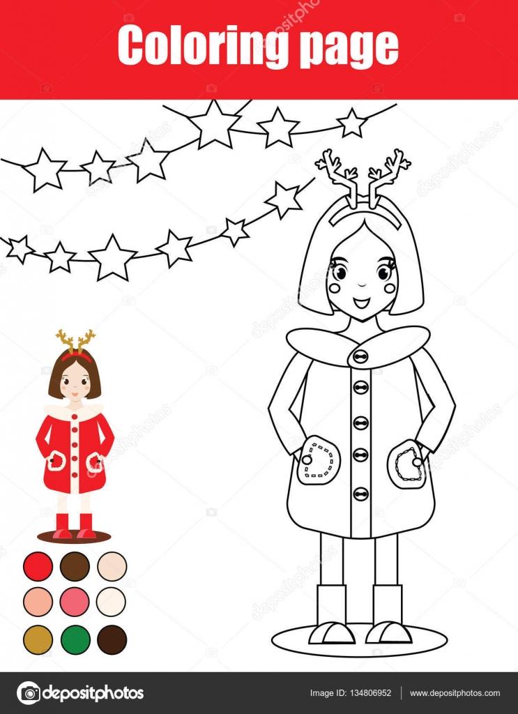 Página para colorear con chica chico. Juego educativo de niños ...