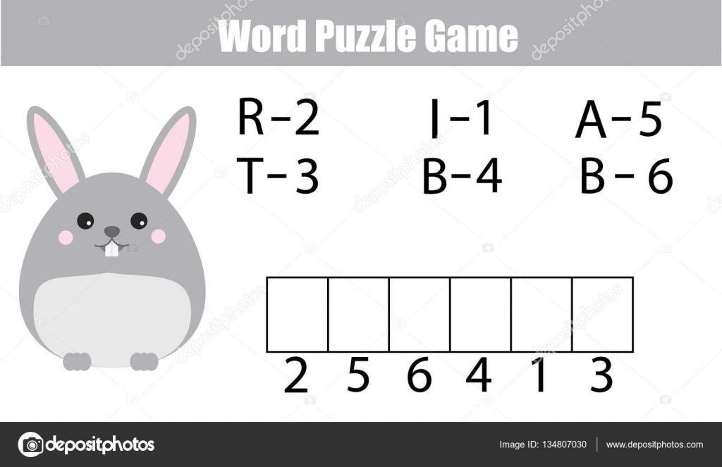 Wörter puzzle Kinder Lernspiel mit Nummern-Codes. Legen Sie die ...