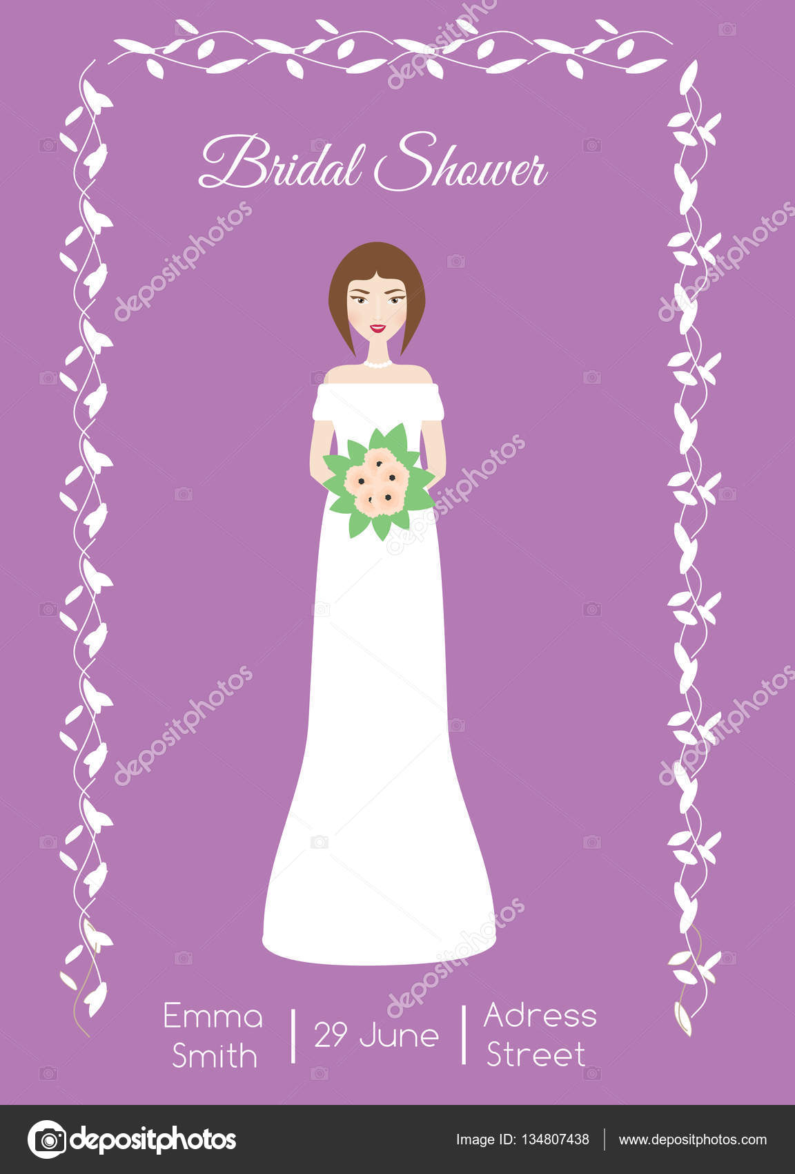 bridal shower card with smiling happy bride woman in fashion wedding dress vector illustration