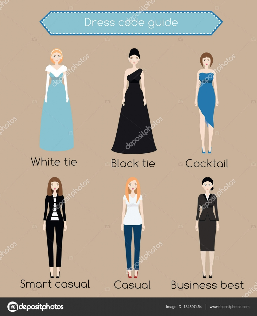 Woman dress code infographic. From white tie to business casual ...