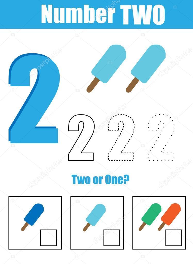 Handschrift-Praxis. Lernen Mathematik und zahlen. Nummer zwei ...