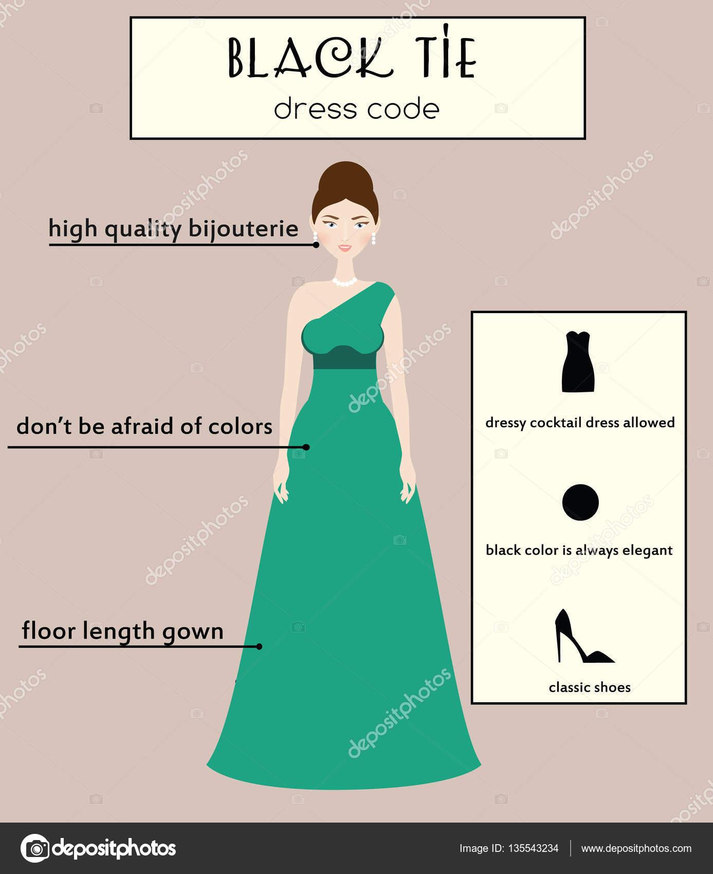 Infográfico de código vestido de mulher. Black-tie. Fêmea em vestido longo  de 0044054d3ac