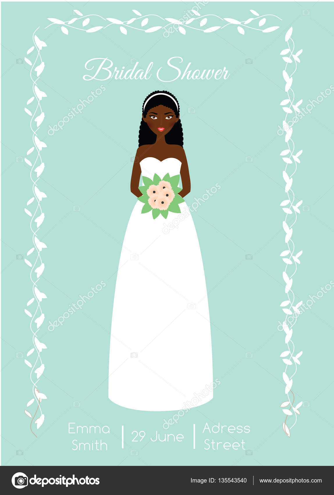 Bridal Shower Card With Smiling Happy Bride African American Woman - Bridal shower card template
