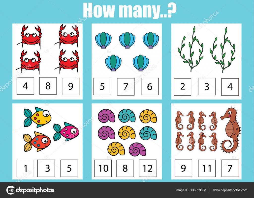 Zählen pädagogische Kinder Spiel, Kinder Aktivität Arbeitsblatt. Wie ...