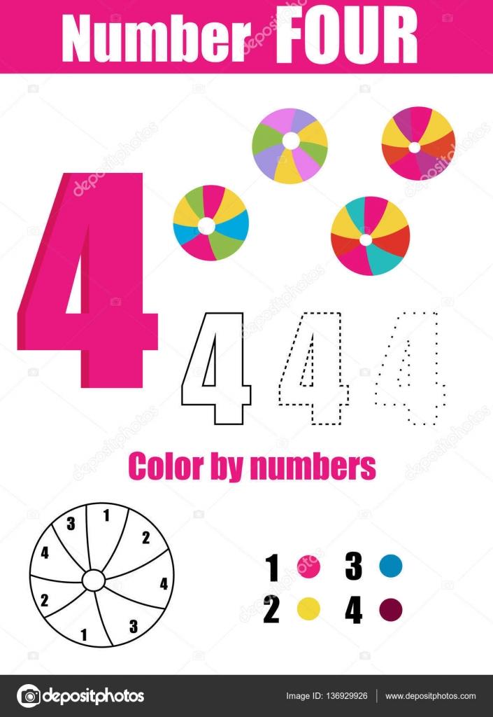 Handschrift-Praxis. Lernen Mathematik und zahlen. Nummer vier ...