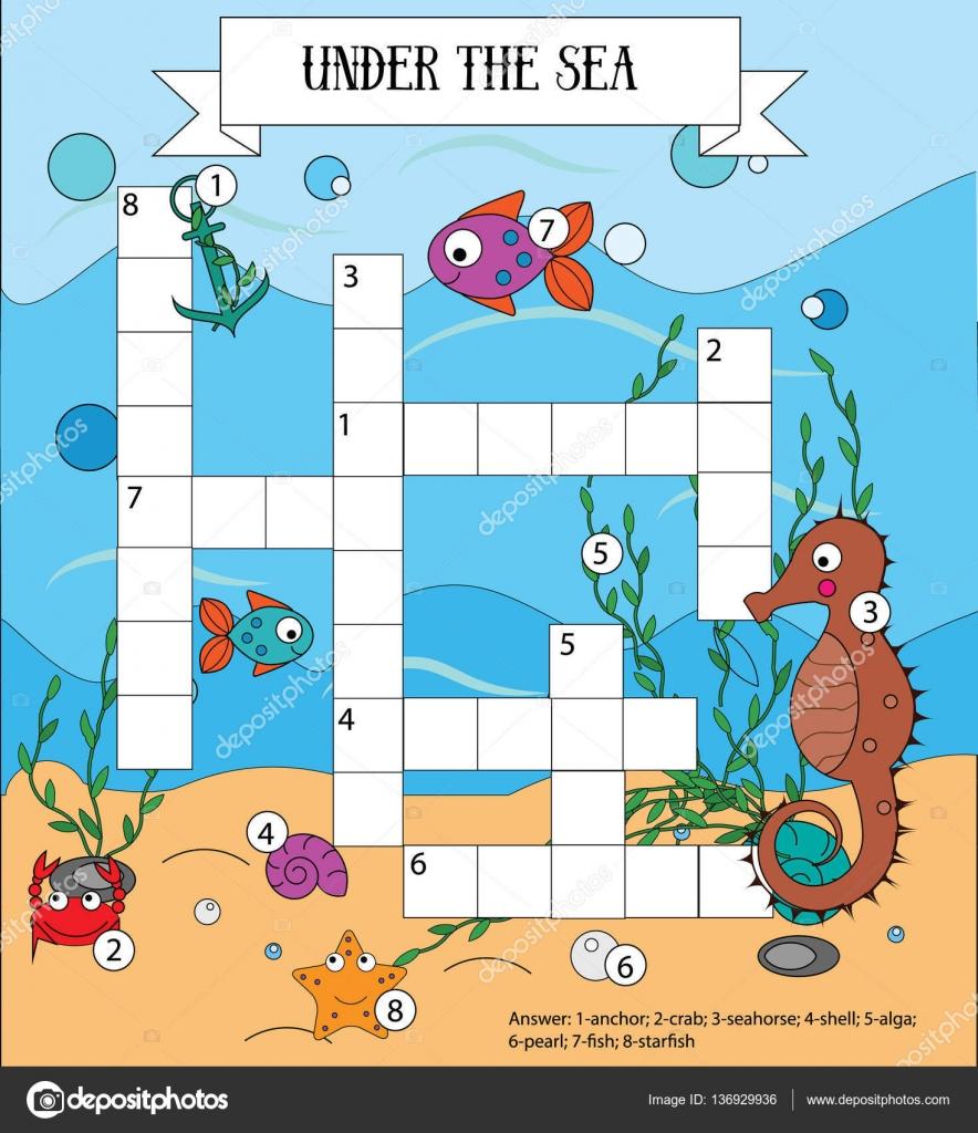 Kreuzworträtsel-pädagogische Kinder-Spiel mit Antwort. Meer ...
