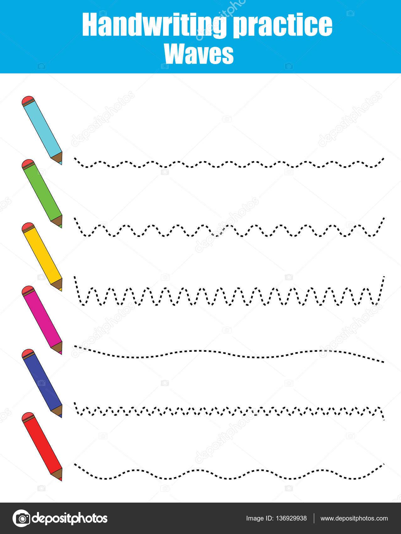 Handschrift-Praxis-Blatt. Pädagogische Kinder Spiel. Druckbare ...