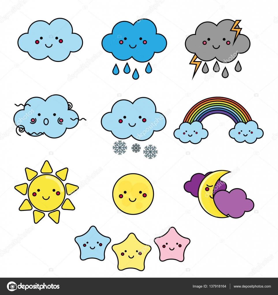 かわいい天気と空要素です。かわいい月、太陽、雲ベクトル イラスト分離